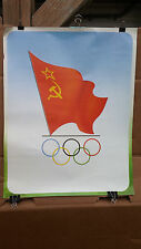 VINTAGE POSTER 1988 SOVIET FLAG AND OLYMPIC RINGS GRAPHIC