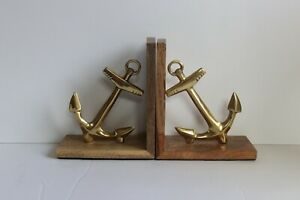 Pair of Nautical Anchor Bookends Wood And Gold Tone