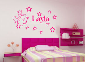 Personalised Name Fairy Peppa Pig with Wand inc 9 Stars Wall Stickers Art Decals