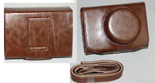 Coffee Leather Camera Case Bag Cover For Canon EOS M With 22mm Lens