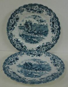 Johnson Brothers COACHING SCENES BLUE Bread Plates SOLD IN PAIRS More Available