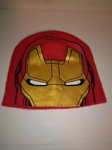 New Avengers Iron Man Boys One Size Fits Most Winter Hat Red Yellow Marvel