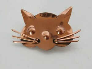 Hand-Crafted Copper CAT FACE Pin Brooch Jewelry SO CUTE!