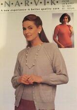 "DK  & 4ply Knitting Pattern ladies Short Sleeve Jumper & Cardigan Size 32/42"""