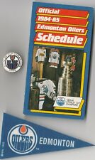1980'S LOT NHL EDMONTON OILERS SCHEDULE ~ CEREAL MINI PENNANT ~ STANLEY CUP PIN