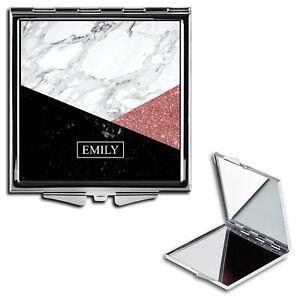 Personalised Name Initials Marble Handbag Travel Make Up Compact Mirror - 04