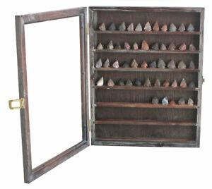 Arrowheads Display Case with glass door, Hangs Display Cabinet Rustic