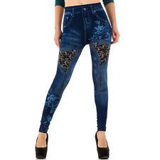 Leggings Damen High Waist Hose Jeansoptik Jeggings Jeansleggings Strass