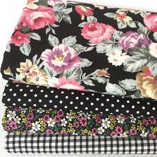 Black & pink floral 4 piece fat quarter bundle 100% cotton fabric