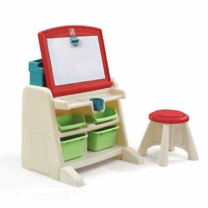 FLIP & DOODLE EASEL DESK WITH STOOL A LIGHTWEIGHT DESIGN OF THIS ACTIVITY CENTER
