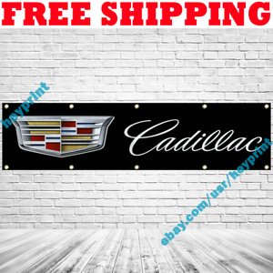 Cadillac Car Banner Flag 2x8 ft Car Racing Show Garage Wall Decor Sign 2021 NEW