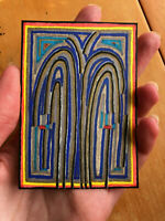 Original ACEO Drawing by Jay Snelling. Outsider Art Brut. Card. Water Abstract