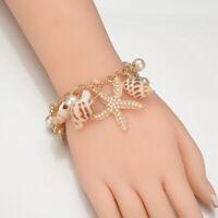 Fashion Star Starfish Conch Shell Bracelet Bangle Charm Women Jewelry GiftJCAUJC
