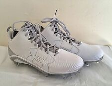 NEW Sz13 Under Armour Mens Guide Football Cleats White Metallic Removable Spikes