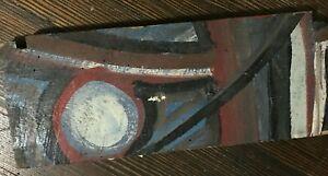 GA Outsider Art Painting Acrylic on Board Jon Whiddon Unsigned Winter Moon 1990s