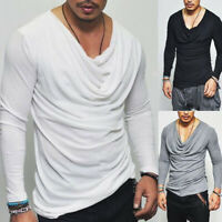 Men's Casual Plain T-shirt Muscle Fitness Long Sleeve V Neck Slim Tops Tee Shirt