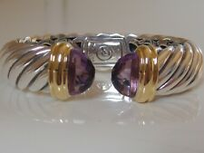 $1950 DAVID YURMAN 18K GOLD, SILVER WIDE WAVERLY AMETHYST BRACELET