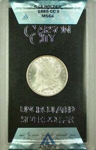 1885-CC GSA Hoard Morgan Silver Dollar $1 Coin ANACS MS-64 w/ Box & COA