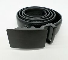 Amedeo Leather Ratchet Belt Matte Buckle Black One Size 30 32 34 36 38 40 42 44