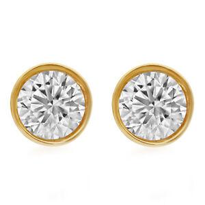 14K Unisex Yellow Gold Round Genuine Diamond Solitaire Bezel Stud Earring 2.0ct