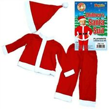 Toddlers Father Christmas Santa Claus Suit Beard Costume Childrens Kids 3 - 5