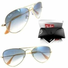 RAY-BAN Aviator SUNGLASSES Gold Frame with Light Blue Gradient Lens 58MM