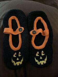 nwot womens halloween jack o lantern slip on socks fits 5-10