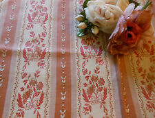 Antique French Satin Lisere Brocade Fabric~ rose pink ~ pillows dolls clutch