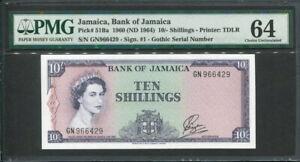 Jamaica 1964, 10 Shillings, GN966429, P51Ba, PMG 64 Original UNC