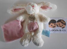 Doudou Peluche Baby nat' Babynat' D&C LAPIN avec Mouchoir ROSE CROIX 20 cm D525
