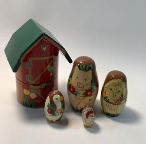 Vintage Nesting Doll Barn & Farm Animals