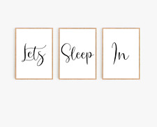 Bedroom wall art Set of 3 - Lets sleep in prints - typography prints - home gift