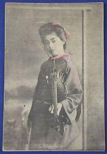 1910s Japanese Photo Postcard Girl Violin vintage antique card japan woman music