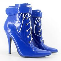 BLUE PVC Ankle High LOCKING Sissy Maid Shoes, BALLET BOOTS SEXY SHOE,12CM HEALS