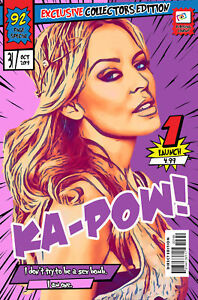 Kylie Comic Book Covers Art Print (Available In 4 Formats)