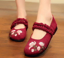 Retro Casual Ladies Floral Embroidered Flats Strap Ruffles Loafers Mary Jane
