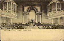Guilford CT Church Interior c1910 Postcard