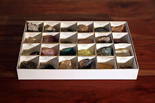 (24) Piece Rock, Mineral and Fossil Collection with Display Box VERY NICE!