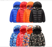 Winter Kids Girls boys camouflage cotton down jacket puffer coat hooded parka