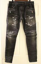 Balmain Men's Biker Destroyed Ripped Jeans Denim Size 31