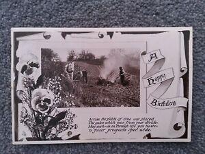 1920's Tucks RP Birthday Postcard, Farmers Working On The Land. R2614