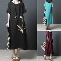 UK Womens Summer Short Sleeve Embroidered Dress Casual Loose Shirt Midi Dresses