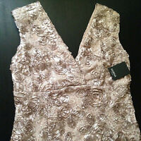 Marina V-Neck Sequine Floral-Soutache Embroidered Gown Taupe Plus Size 14W