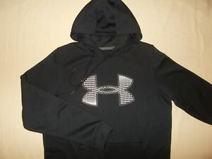 UNDER ARMOUR COLD GEAR BLACK HOODED SWEATSHIRT MENS MEDIUM EXCELLENT CONDITION