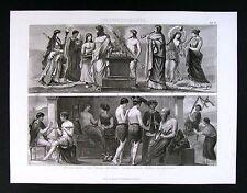 1874 Print Ancient - Greek Priestess Altar Offering - Music Theater Flute Lyre