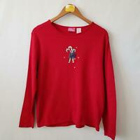 Pappagallo Candy Cane Christmas Holiday T Shirt Womens Sz Large Long Sleeve Red