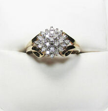 GP over 925 Sterling Silver Genuine .50 twc Diamond Ring Size 7