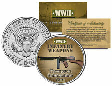 THOMPSON SUBMACHINE GUN * WWII Infantry Weapons * JFK Half Dollar U.S. Coin