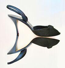 Classy Vintage Delman Black Blue Peep Toe Love Knot Leather Sling Back Mule 9 M