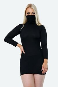 face Masks Covering Womens Mini Dress Long Sleeved Bodycon Top Dressess High